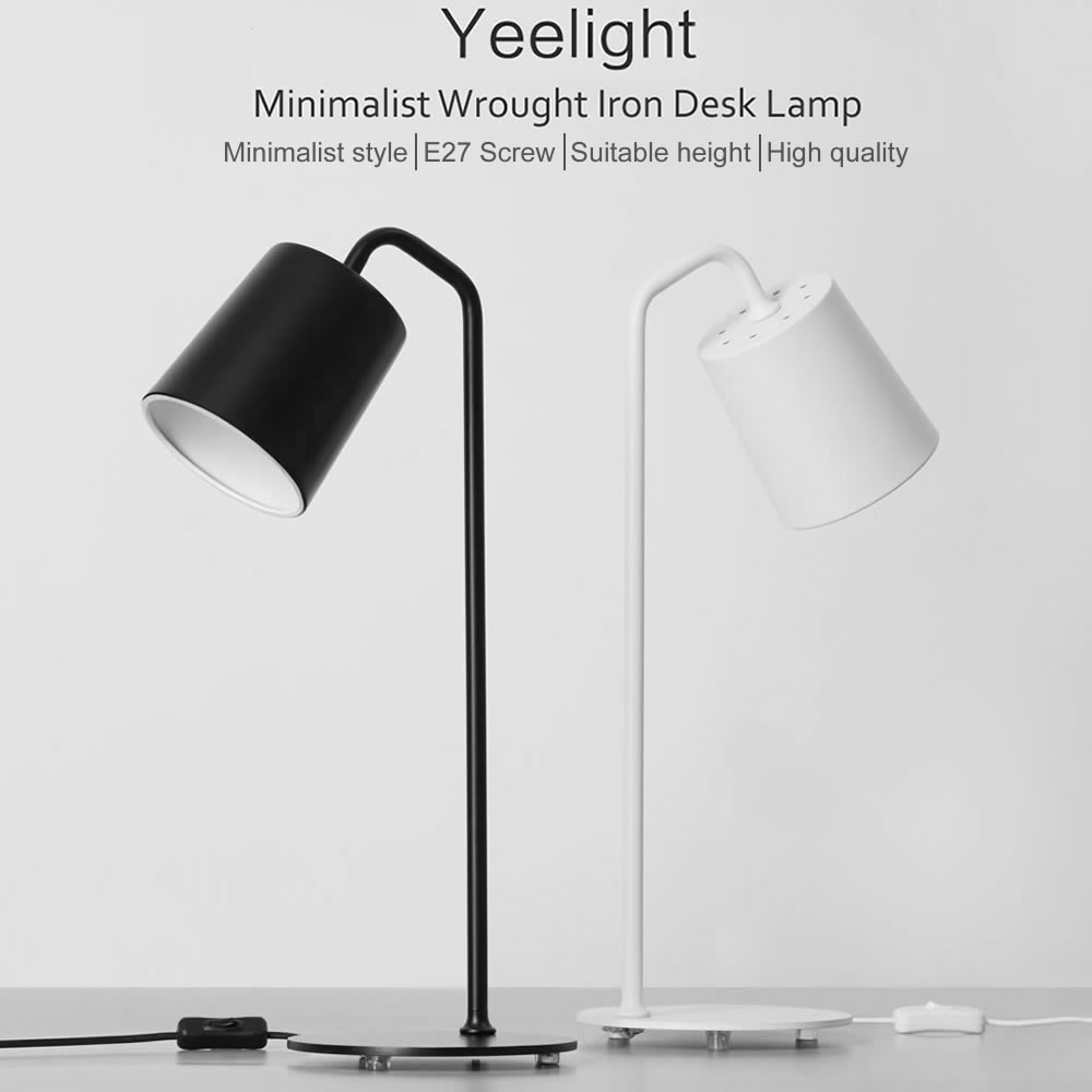 Original Yeelight Minimalist Wrought Iron Desk Lamp E27 Led Bulb Warm Light Bedroom Bedside Table For Reading Working In Lamps From Lights
