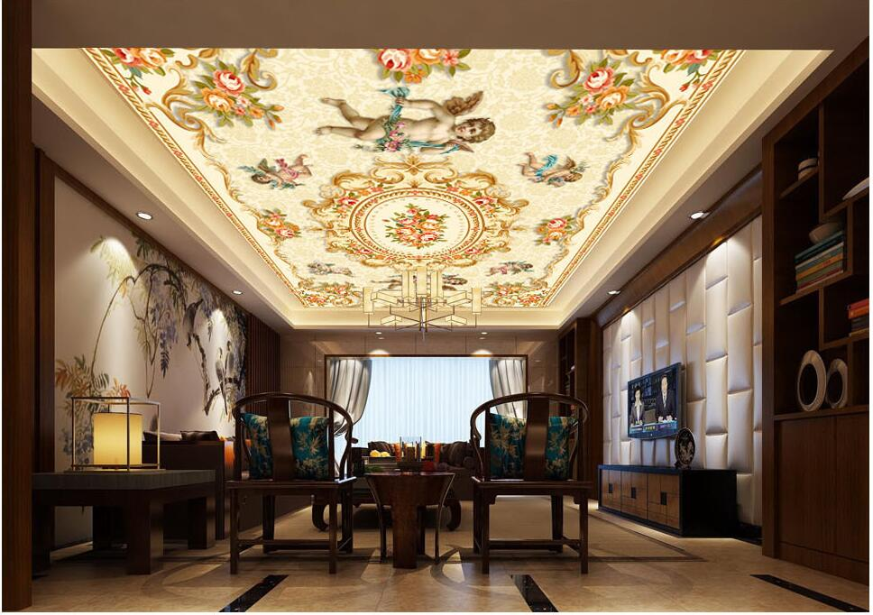 Custom photo 3d ceiling murals wallpaper Non-woven European Angel pattern background painting room wallpaper for walls 3d beibehang custom wall paper 3d white european carved blue sky white clouds ceiling ceiling murals background