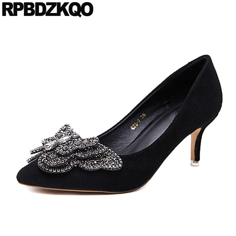 women pumps bling thick pointed toe black crystal wedding shoes size 33 stiletto rhinestone suede evening diamond high heelswomen pumps bling thick pointed toe black crystal wedding shoes size 33 stiletto rhinestone suede evening diamond high heels