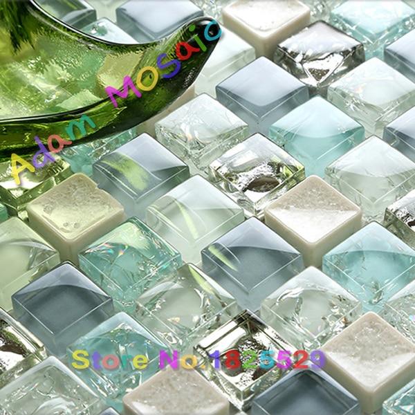 Crackle Glass Mosaic Tiles Backsplash Kitchen Blues Tile Art Design  Bathroom Shower Wall Ideas Glossy Subway