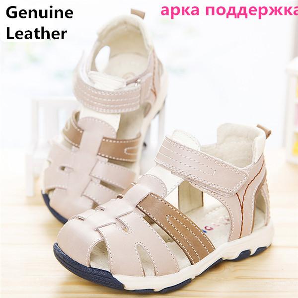 Verão 1 par menino genuínos filhos de couro sandálias ortopédicas + interior 14.5-17.2 cm, super qualidade kids summer shoes