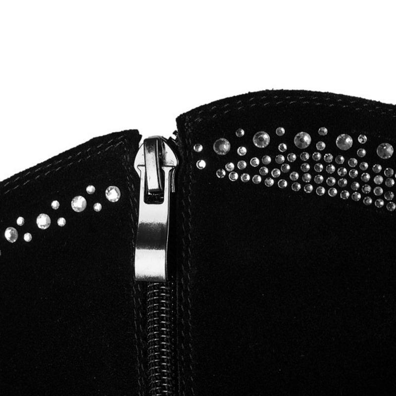 En Genou Haut Botas D'hiver Taille Cuir Véritable Chaussures Footwears 34 Femmes Zipper Fourrure De Kemekiss Perles Chaude Bottes Noir Talon 39 EAw8t6q