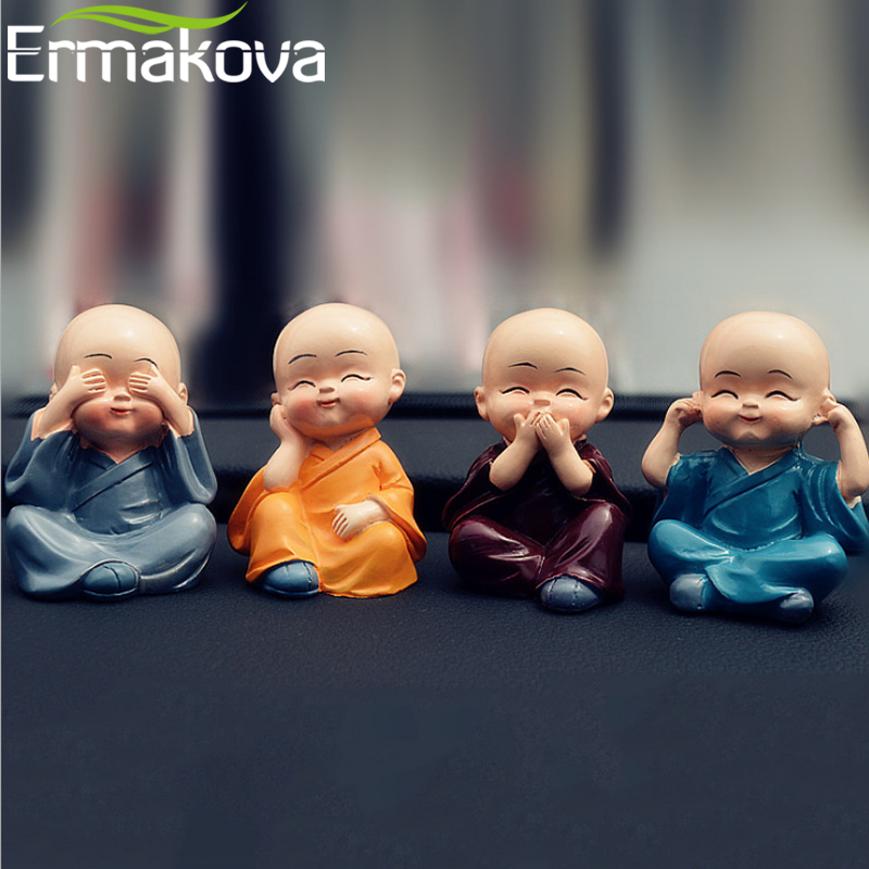 ERMAKOVA Chinese Gongfu Monk Figurine Resin Kung Fu Shaolin Monk Statue Buddhist Figure Home Office Car Dolls DecorERMAKOVA Chinese Gongfu Monk Figurine Resin Kung Fu Shaolin Monk Statue Buddhist Figure Home Office Car Dolls Decor
