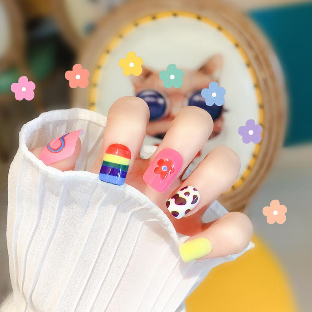 Yfashion 24 Pcs Rainbow Fake Nail Sticker Fashion Finished Patch Art Artificial Extension False Tips  Decorations