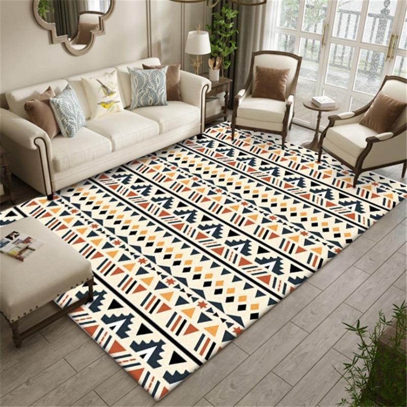 AOVOLL Area Rug For Living Room Carpet Kids Room Bedroom Rug Geometric Striped Ethnic Style Orange Carpet Mechanical Wash