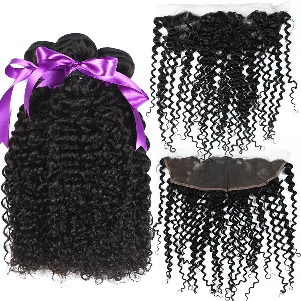 Annmode Peruvian Kinky Curly Bundles With Frontal 3 Bundles Human Hair With Frontal Non Remy Hair Extension Free Shipping