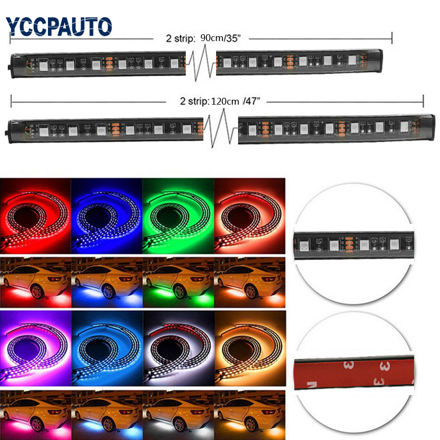 Flexible RGB Car LED Strip Light Atmosphere Foot Lamp Bumper Rear Bottom Neon Light With Remote Controller