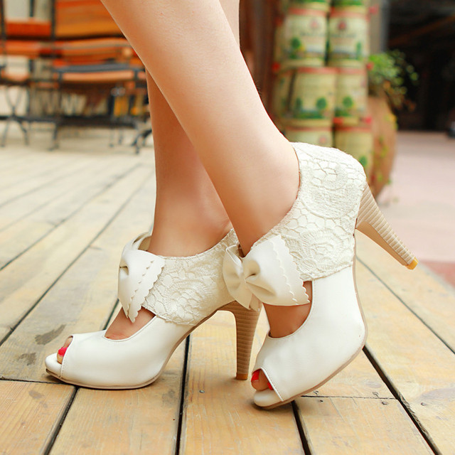 2a4d279ee7e9 size 34-39 vintage style women small bowtie platform pumpsladies sexy high  heeled shoesWedding Shoes for women Platform