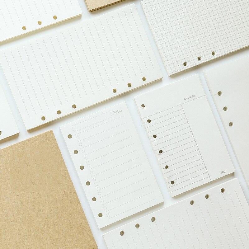 A5 a6 a7 criativo 6 furos planejador de papéis de enchimento para filofax escritório escola espiral caderno enchimento pasta papel páginas internas