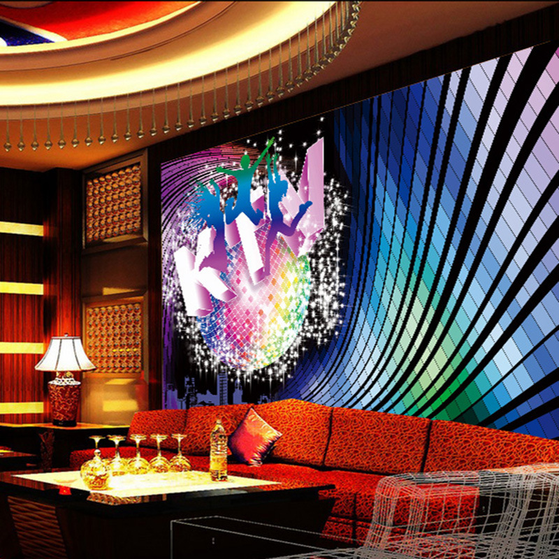 Customized mural large 3D painting with colorful Dynamic motion suitable for box wall as background wallpaper in KTV room stage in Wallpapers from Home Improvement