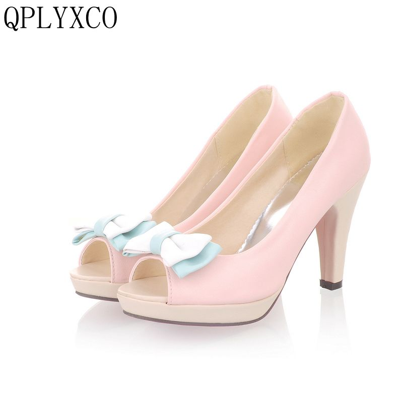 QPLYXCO 2017 Fashion Big &Small size 31-45 Summer sandals Women High Heel Shoes Pumps Wedding Party Ladies Heeled Footwear D21 2015 women summer shoes fashion thick heel office sandals women s high heeled shoes cover heel sandals for ladies dmz3119 1