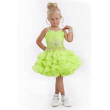 Pretty Great Apple Green Flower Girl Dresses Spaghetti Lace Up Ball Gown Organza Ruffles Mini Little Girl Pageant Dresses 2017
