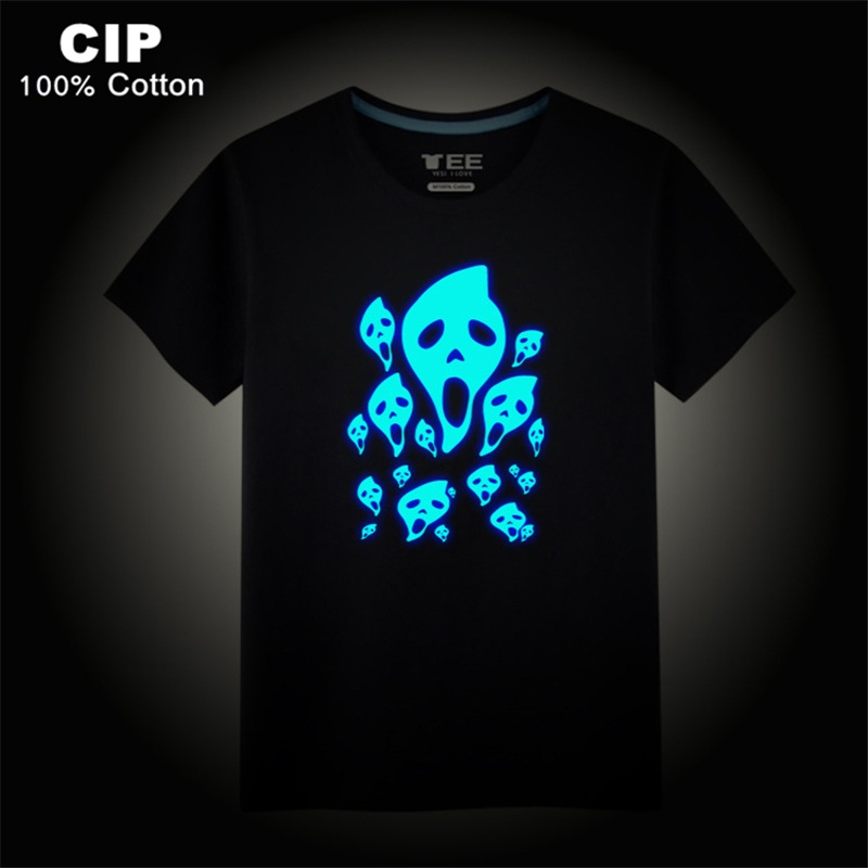 Skull T Shirt for Children kids Summer Glow in The Dark Big Boys Shirts Skulls Children's Clothing Brand Kid Summer Clothes Boys glow in the dark saw skull head style mask transparent