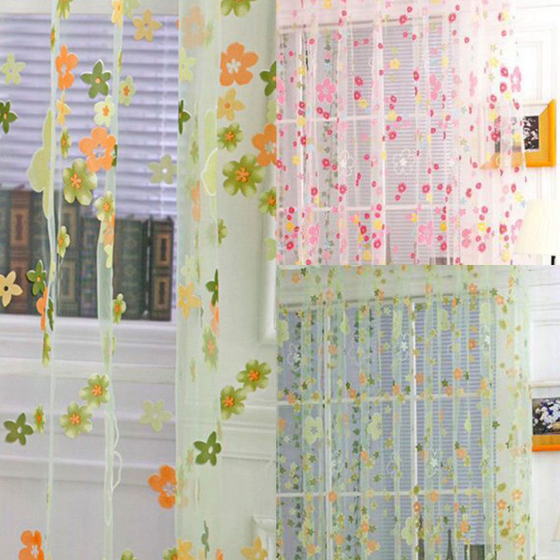 Roman curtain new design floral sheer window curtain for kitchen living room voile tulle - Curtain new design ...