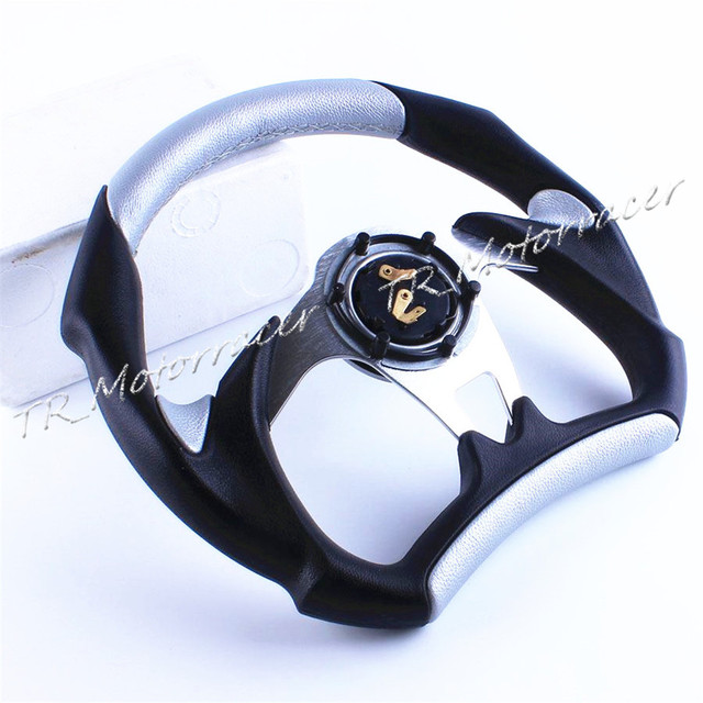 Silver Modification Replacement For Universal Car 6-BOLT Racing Steering Wheel PU Leather Sport F1 JDM Auto D03