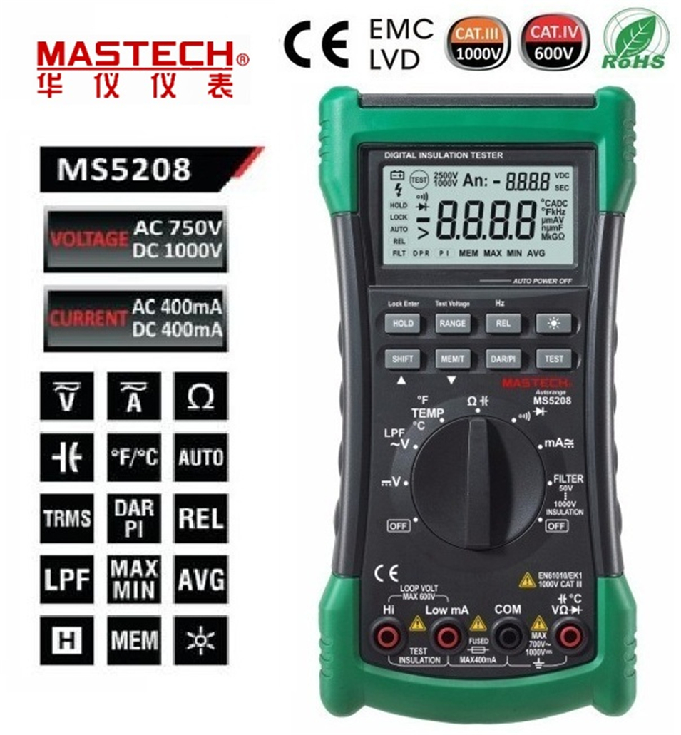 MASTECH MS5208 6600Counts Digital Multimeter True RMS AC Voltage Current Temperature Tester Megger Insulation Resistance Meter mastech ms8250c autoranging digital multimeter true rms low pass filtering 6600 d a display ncv usb data transmission