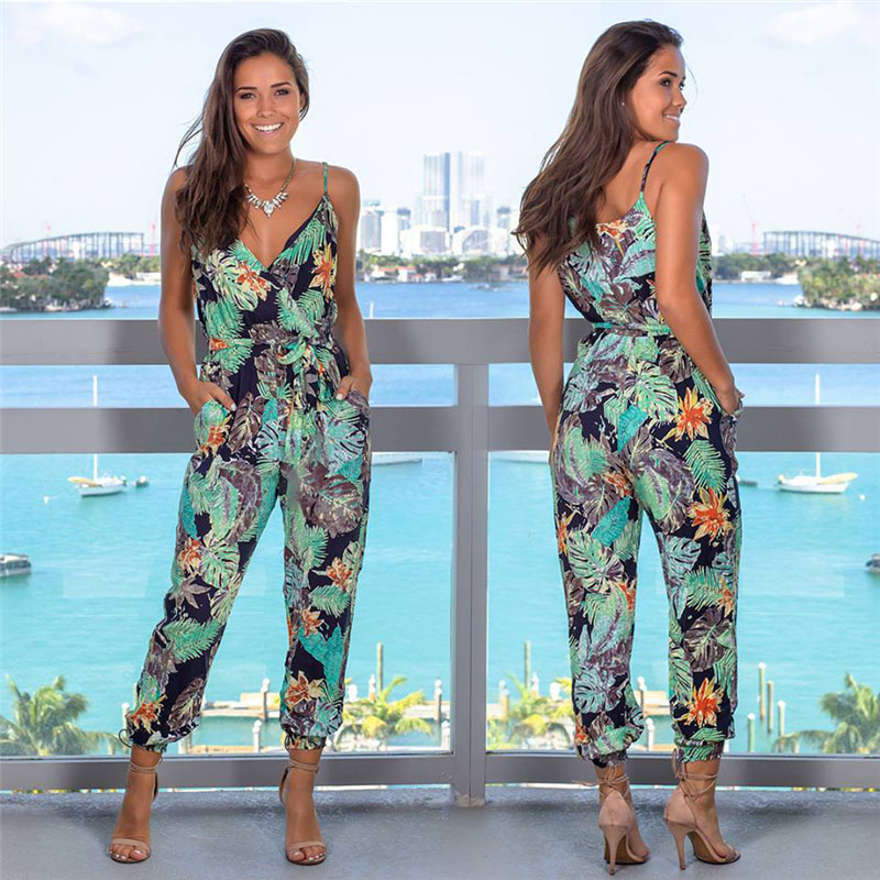Boho Women Strappy Floral   Jumpsuit   Ladies V-neck Holiday Playsuit with Pockets Summer Beach NYZ Shop