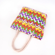High Quality Casual Summer Beach Women Bag Hot Sale Fashion Canvas Striped flower Handbags Shoulder Bag