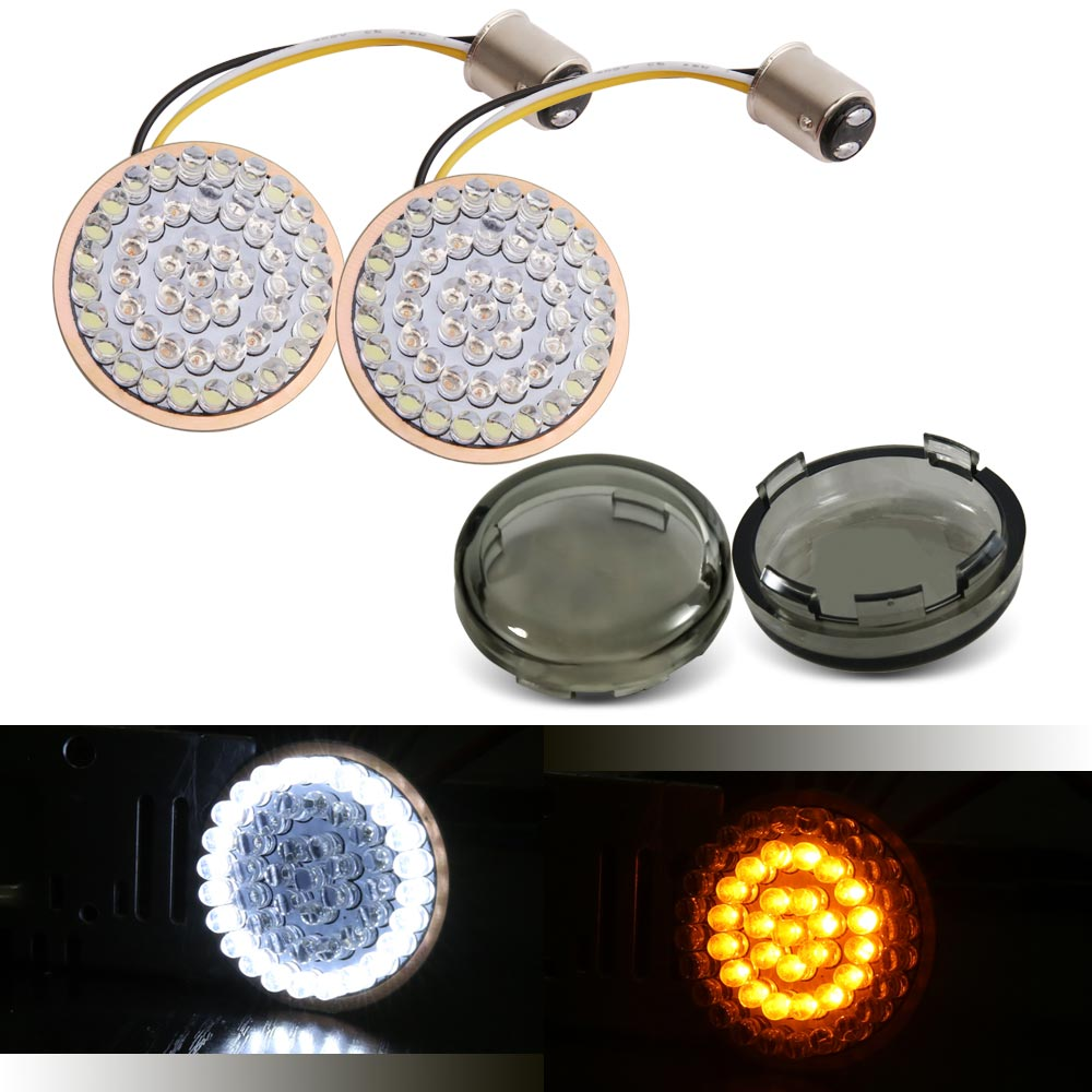 Motorcycle White/Amber 1157 Bullet Front LED Turn Signal Inserts For  Dyna Super Glide Custom FXDC, Road King FLHR