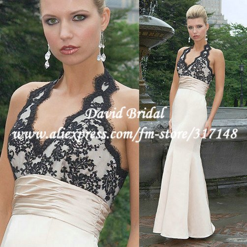 Online Shop New Style DB066 Floor Length Black Lace Top Champagne ...