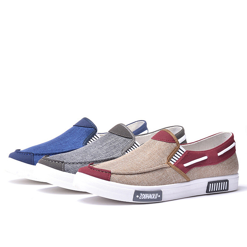 caqui Hombres gris Lona Casual De Masculino Transpirable Zapatos Oudiniao Barco 2018 Zapatillas Denim On Primavera Calzado Slip Mocasines Azul UgTFw