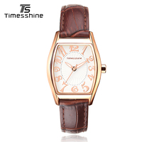 Timesshine Stainless Steel Waterproof Women Quartz Watch Ladies Clock Horloge Dames Golden Case Numbers Strap UP