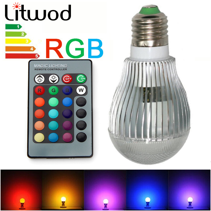 2019 Fashion Litwod Z20 Lamp E27 E14 Gu10 110 V-220v Gloeilamp Real Power Induction 5w 10w Ir Control Ball Bulb Light Rgb Lamp With Battery Comfortable And Easy To Wear Lights & Lighting Led Bulbs & Tubes
