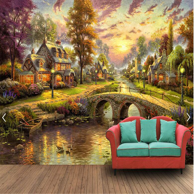 Beibehang 3d Custom Photo Wallpaper Wall Murals Stickers Hand Painted Europe And The United States Rural Forest Hut Night View
