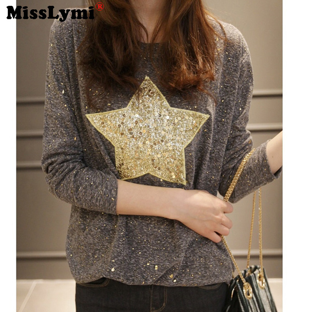 XL-4XL Plus Size Women Tops 2016 Autumn Harajuku Fashion Gold Star Sequins O-neck Long Sleeve Loose Casual Bling Bling T-shirts