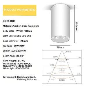Image 4 - [DBF] גבוהה השתקפות משטח רכוב Downlight 15W 20W AC85 265V עגול LED תקרת ספוט אור לסלון חדר שינה מסדרון