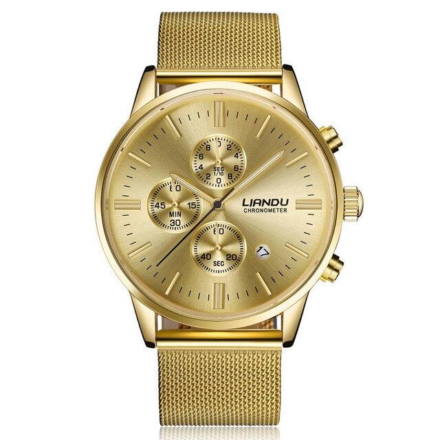 LIANDU Steel Business Watch Male Clock Models Quartz Watches Three Dial Round Lu