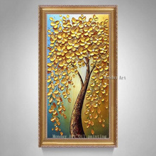 Large handmade Gold Money Tree Flower Oil Painting Handpainted golden tree Canvas painting Wall Art Picture For Living Room