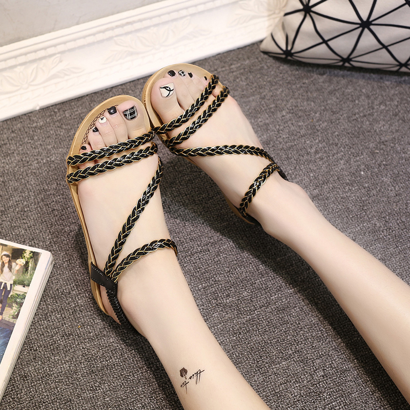 1pair New Style Ankle Strap Sandals Fashion Flat Sandal Summer Weaving Beach Flat Shoes Female Sandal Low Heels Zapatos De Mujer