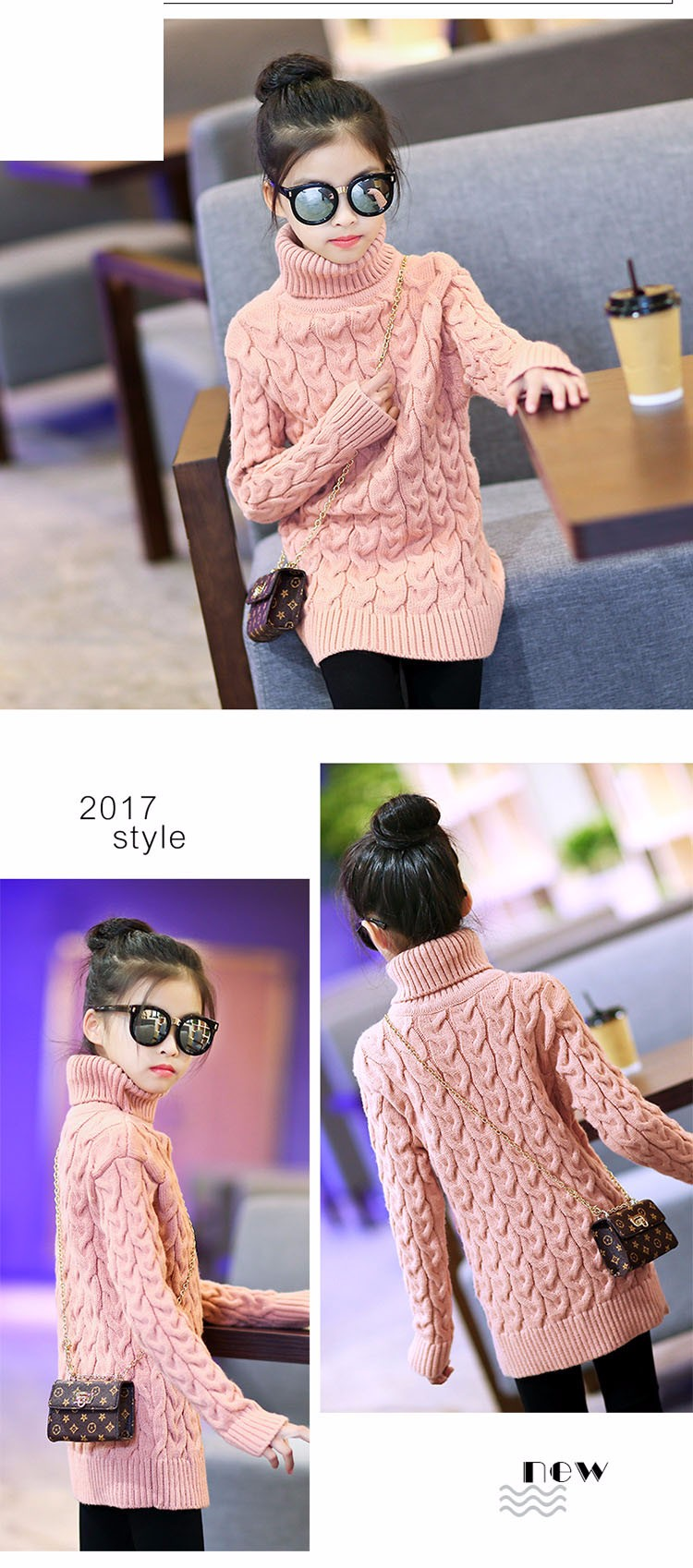 2017 new high neck long knitting girls sweater spring autumn winter turtleneck knitted children sweaters kids girls thick red black beige pink tops 7 8 9 10 11 12 13 14 15 years little big teenage girls sweater winter casual children (14)