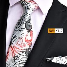 NINIRUSI Silver Paisley Floral 3.15 Polyester Silk Wedding Jacquard Woven Men Tie Necktie Pocket Square Handkerchief Set Suit