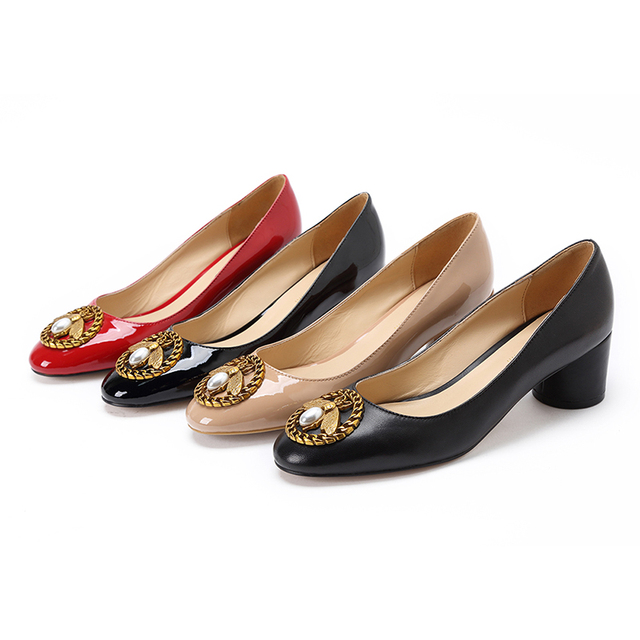 dc48774642 Hot sale 2018 Spring new Women Mid Heel Pump Ladies Round-toe Basic Office  Work