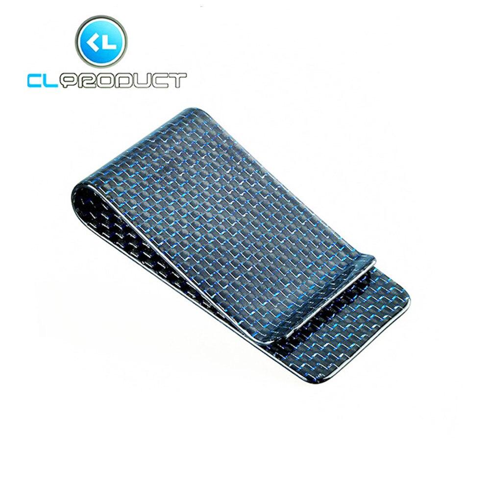 Carbon Fiber Money <font><b>Clip</b></font> Blue Glossy L size- Genuine 3K Twill- Credit Card Business Wallet Money <font><b>Clips</b></font>