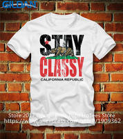 T Shirts Online Popular Men S Broadcloth O Neck Short Sleeve California Republic Stay Classy Bear
