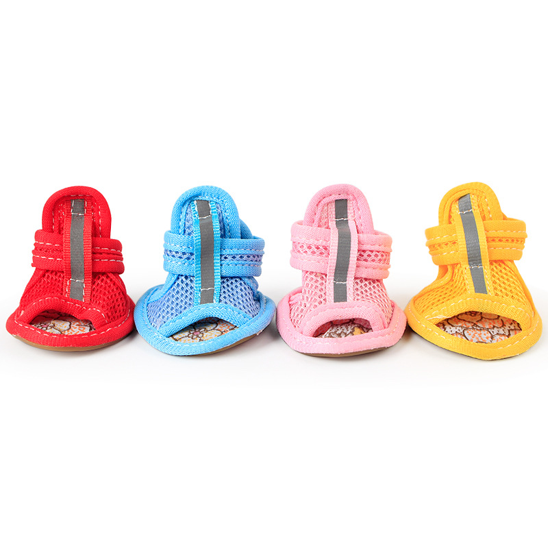 Hot Sale Casual Anti-Slip Small Dog Shoes Cute Pet Shoes Shoe Spring Summer Breathable Soft Mesh Sandals Candy Colors