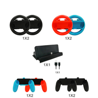 10 In 1 Game Accessories for Nintends Switch with 4XSteer Wheel Handle 4X Controller Grips Type C Cable Charger
