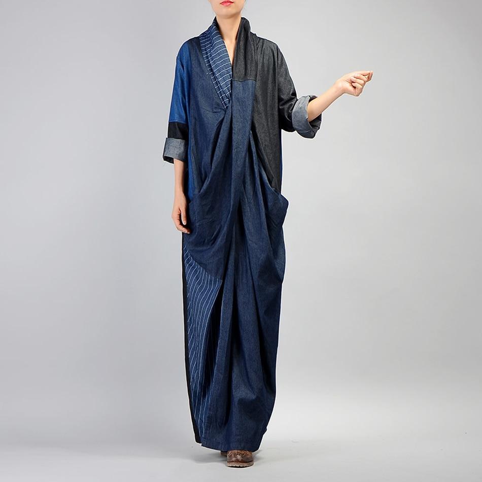 Johnature Women Denim Dress 2019 Fall Winter New Patchwork Cotton Robe V Neck Vintage Women Casual