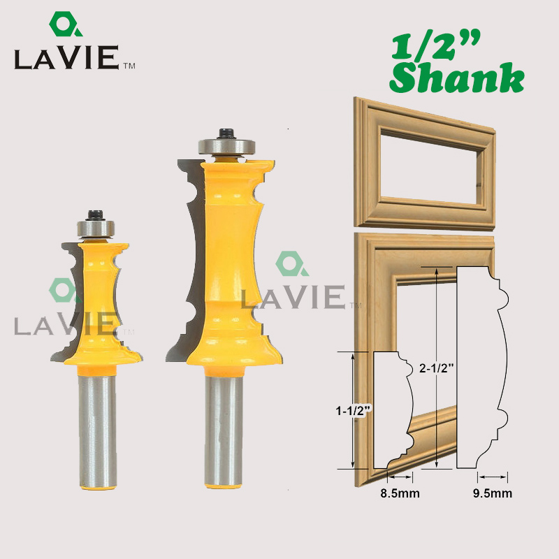 LA VIE 1PC 1/2 Shank Mitered Drawer Front Molding Router Bit Door Handrail Line Knife Tenon Cutter For Wood Work Tools MC03040 1 2 door nail cutter knife household west tenon joints fit together stitching carpentry knife blade 3pcs et