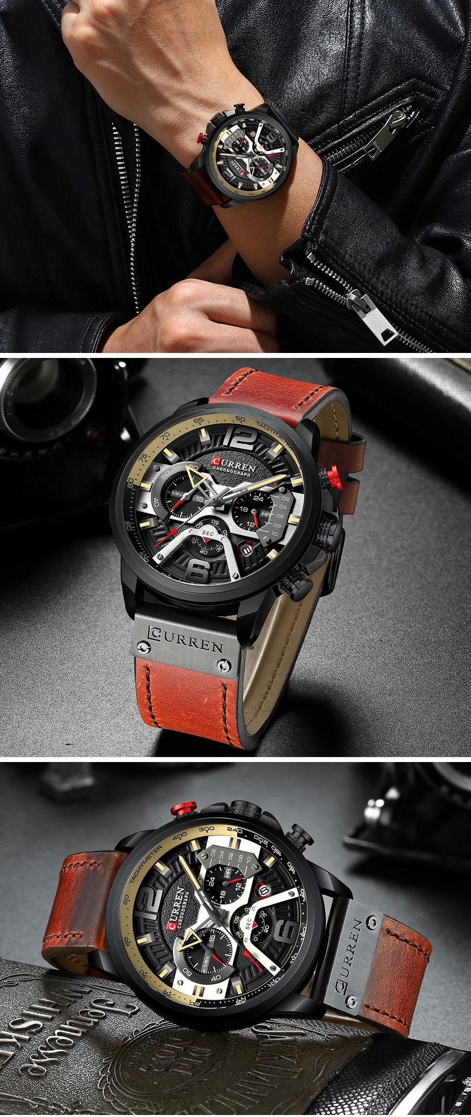 HTB1XaY6VNnaK1RjSZFBq6AW7VXaP CURREN Luxury Brand Men Analog Leather Sports Watches Men's Army Military Watch Male Date Quartz Clock Relogio Masculino 2019