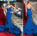 Azul Vestido de Noche Formal para Las Mujeres Vestidos de festa 2016 nueva Backless Atractivo de La Sirena de Satén Con Gradas Tren Simple de Noche Largo vestido