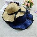 2016 Nueva Ola de Verano Sombreros De Las Mujeres Casquillo de La Manera Mujeres Del Sombrero Del Sol Del Bowknot de la Cinta Plegable Mujeres Sombrero de Paja