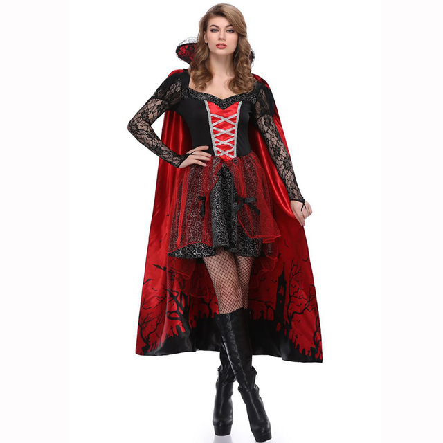 black red gothic dark queen halloween costumes for women vampire cosplay fancy dress adult carnival
