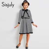Sisjuly Vintage Dress Women 1950s Black Houndstooth Single Breasted Long Sleeve A Line Dresses Spring Fall