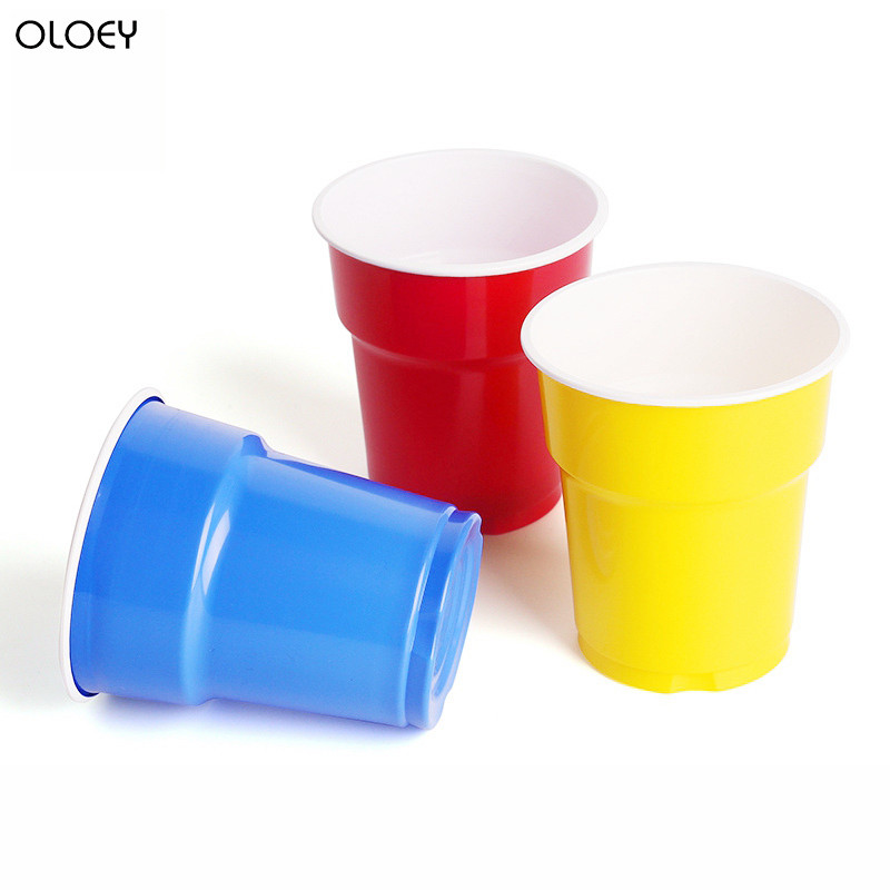 OLOEY 3 Solid Color Disposable <font><b>Plastic</b></font> Party <font><b>Cups</b></font> for Drink <font><b>Beer</b></font> or Birthday Christmas Home Game Party <font><b>Beer</b></font> Pong High Quality image