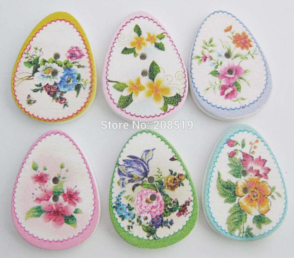 WBNASL Oval shape Flower Buttons wood Mix 100pcs 2 holes sewing accessories