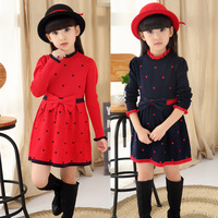 Dress Kids 5 13 Years Autumn Winter Wear 2016 Long Sleeve Sweater Dress For Teenage Baby